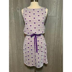 LOFT Purple & White Stretch Cotton Dress XS